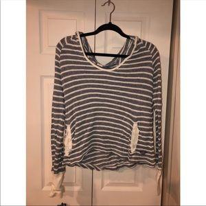 Roxy Crochet Striped Pullover Hoodie